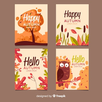 Coleção de design plano de cartões de outono