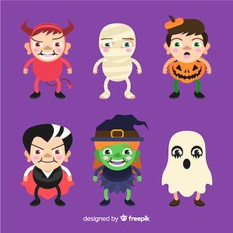 Coleção de design plano de crianças de halloween