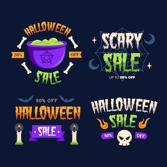 Coleção de design plano de distintivos de halloween
