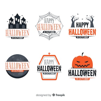 Coleção de design plano de emblemas de halloween
