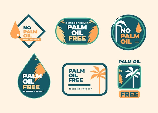 Coleção de design plano de emblemas de óleo de palma