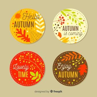 Coleção de design plano de emblemas de outono