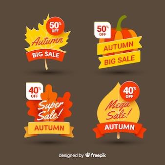 Coleção de design plano de emblemas de vendas de outono