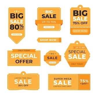 Coleção de design plano de etiquetas de venda