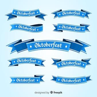 Coleção de design plano de fitas de oktoberfest
