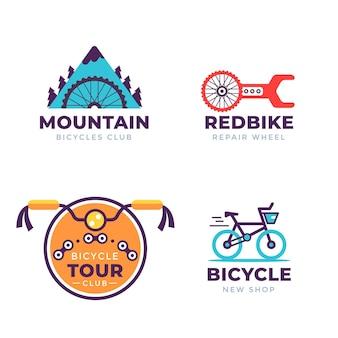 Coleção de design plano de logotipo de bicicleta em cor pastel