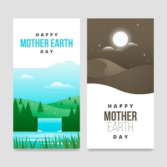 Coleção de design plano de mãe terra dia banner