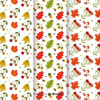 Coleção de design plano de padrões de outono