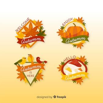 Coleção de design plano de rótulos de outono
