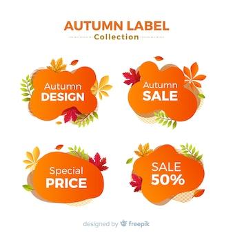 Coleção de design plano de rótulos de venda outono
