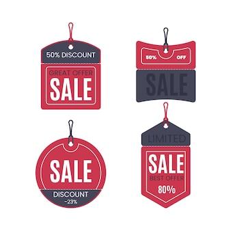 Coleção de design plano de tag de vendas