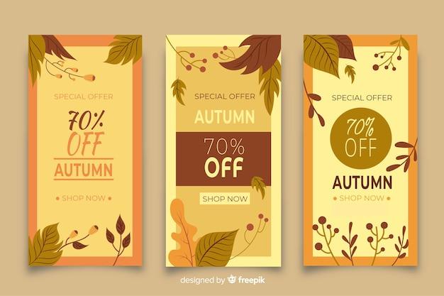 Coleção de design plano de vendas de outono bandeira