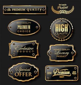 Coleção de design retro vintage com etiquetas de venda em ouro e preto
