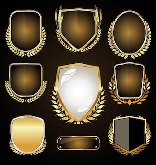Coleção de design retro vintage de marcas de luxo douradas