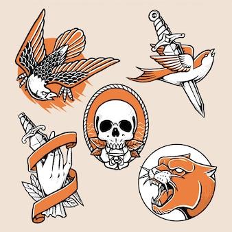 Coleção de design tradicional de tatuagem