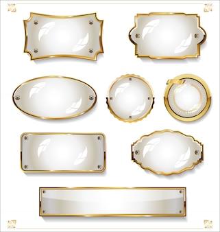 Coleção de design vintage retrô de rótulos brancos vazios dourados