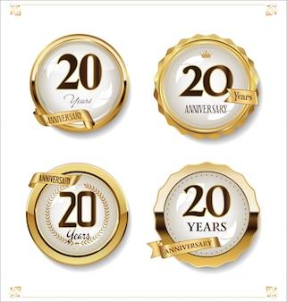 Coleção de design vintage retrô de rótulos dourados de aniversário
