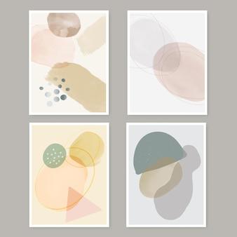 Coleção de designs abstratos de arte em parede de estilo minimalista pintada à mão