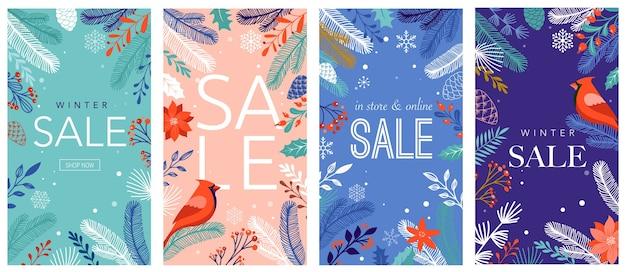 Coleção de designs abstratos, venda de inverno, conteúdo promocional de mídia social.