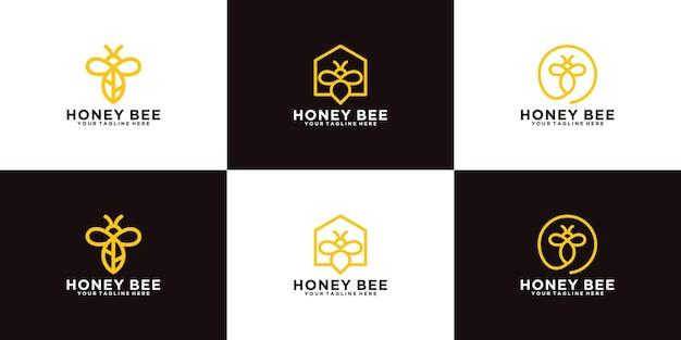 Coleção de designs de animais de abelhas melíferas com estilo de arte de linha