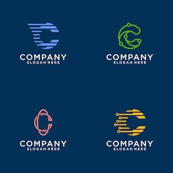 Coleção de designs de logotipo abstrato da letra c. apartamento minimalista moderno para negócios