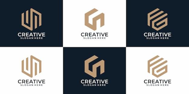 Coleção de designs de logotipo criativo de monograma moderno abstrato