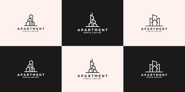 Coleção de designs de logotipo de arranha-céu de apartamentos imobiliários