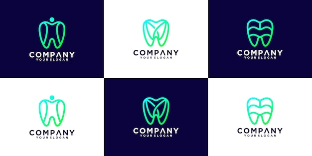 Coleção de designs de logotipo dentário com estilo de linha