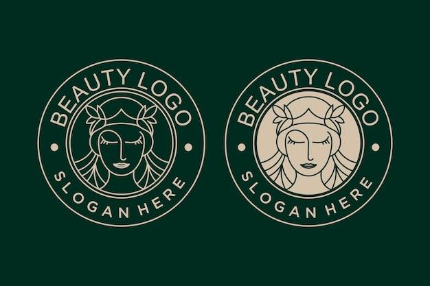 Coleção de designs de logotipo vintage de beleza