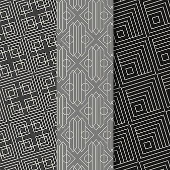Coleção de designs de padrão art déco plano