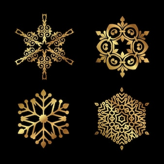 Coleção de designs decorativos de flocos de neve de natal