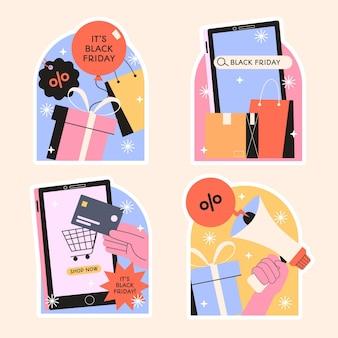 Coleção de designs ingênuos de adesivos de sexta-feira negra
