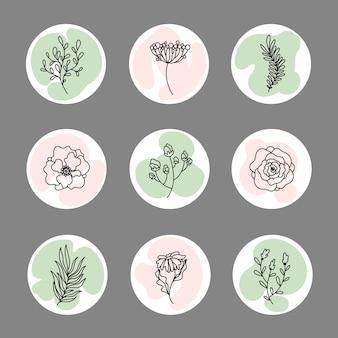 Coleção de destaques de histórias florais do instagram