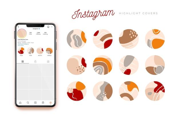 Coleção de destaques do instagram desenhada à mão abstrata