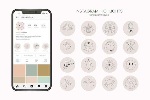 Coleção de destaques do instagram desenhada à mão
