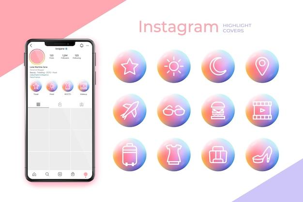 Coleção de destaques do instagram gradiente