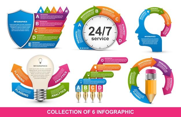 Coleção de dezesseis infográficos.