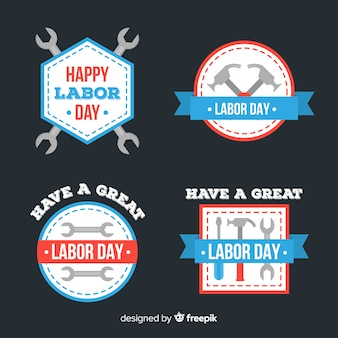 Coleção de dia do trabalho emblemas design plano
