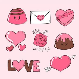 Coleção de dia dos namorados de doces de chocolate rosa