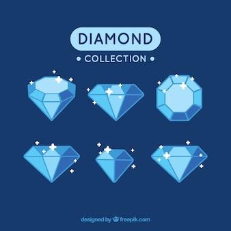 Coleção de diamantes brilhantes em tons azuis