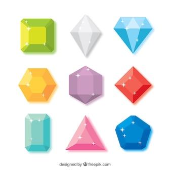 Coleção de diamantes brilhantes
