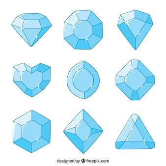 Coleção de diamantes desenhados à mão
