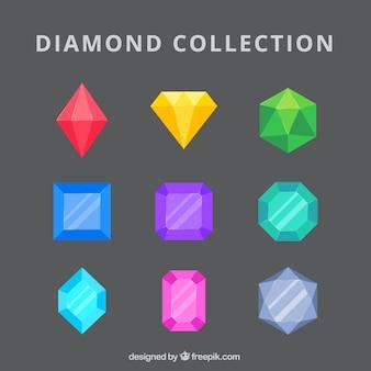 Coleção de diamantes e esmeraldas coloridas