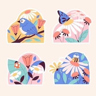 Coleção de diferentes adesivos bonitos da natureza