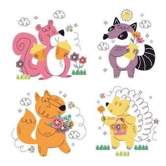 Coleção de diferentes adesivos de animais
