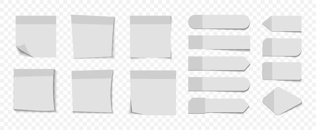 Coleção de diferentes adesivos em branco. postar adesivos de nota. fitas adesivas com espaço para texto ou mensagem. diferentes folhas de papel para anotações com canto enrolado. nota de papel colante com fita adesiva e sombra