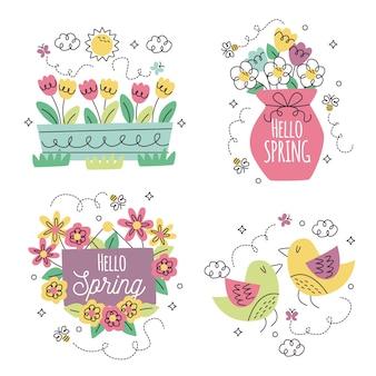 Coleção de diferentes adesivos florais