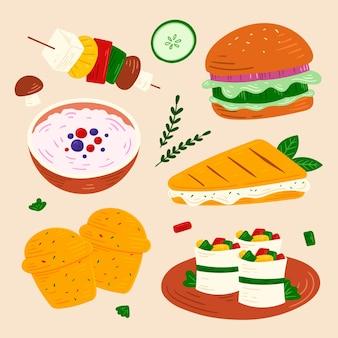 Coleção de diferentes alimentos vegetarianos desenhados à mão