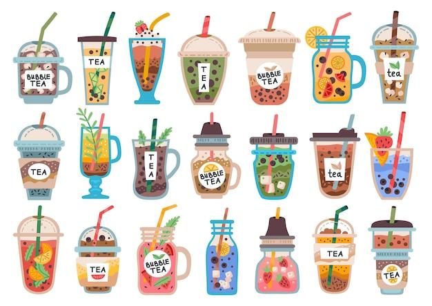 Coleção de diferentes bebidas geladas, smoothies em jarras de vidro