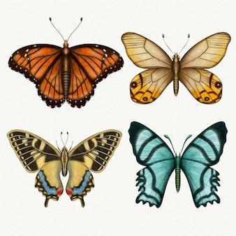 Coleção de diferentes borboletas em aquarela